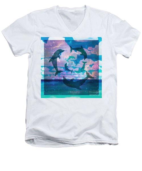 Green Dolphin Dance Men's V-Neck T-Shirt