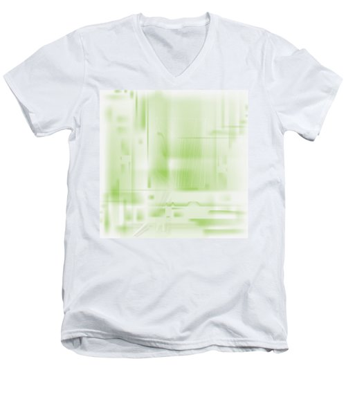 Green Ghost City Men's V-Neck T-Shirt by Kevin McLaughlin