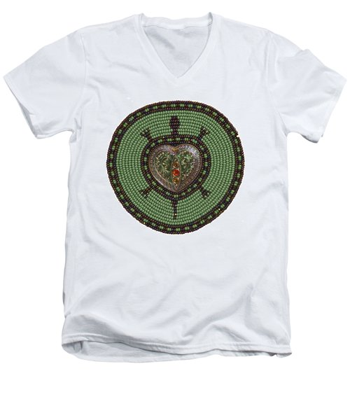 Green Heart Turtle Men's V-Neck T-Shirt