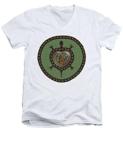 Green Heart Turtle Men's V-Neck T-Shirt