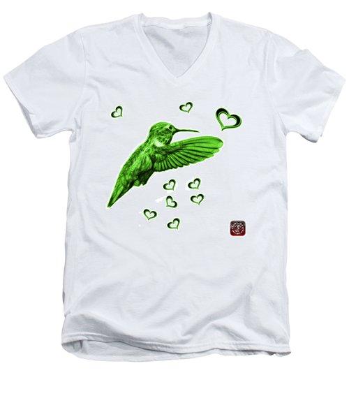 Green Hummingbird - 2055 F S M Men's V-Neck T-Shirt by James Ahn