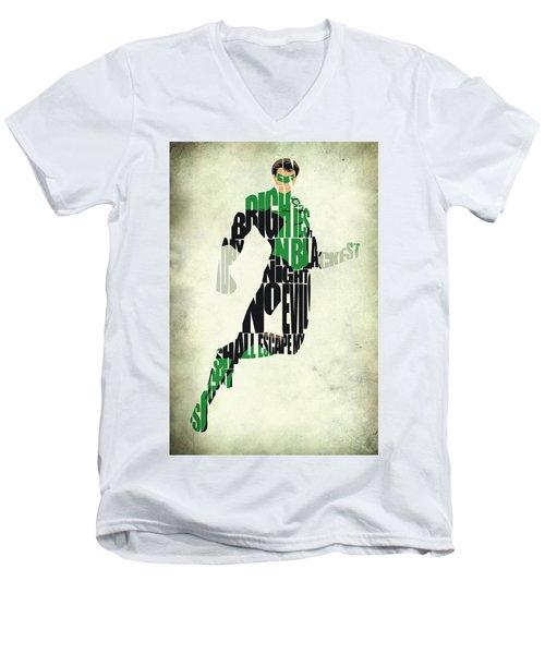 Green Lantern Men's V-Neck T-Shirt by Ayse Deniz