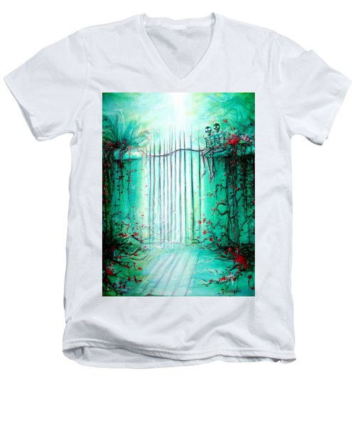 Men's V-Neck T-Shirt featuring the painting Green Skeleton Gate by Heather Calderon