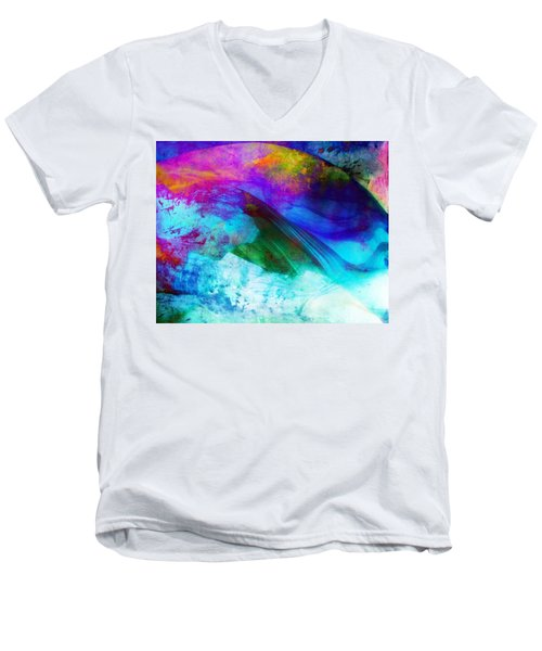 Men's V-Neck T-Shirt featuring the painting Green Wave - Vibrant Artwork by Lilia D