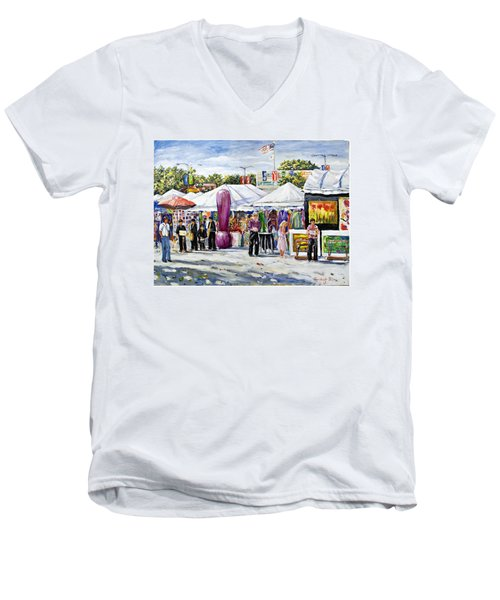 Greenwich Art Fair Men's V-Neck T-Shirt by Alexandra Maria Ethlyn Cheshire