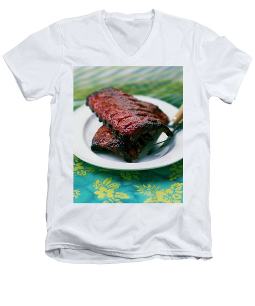 Grilled Ribs On A White Plate Men's V-Neck T-Shirt