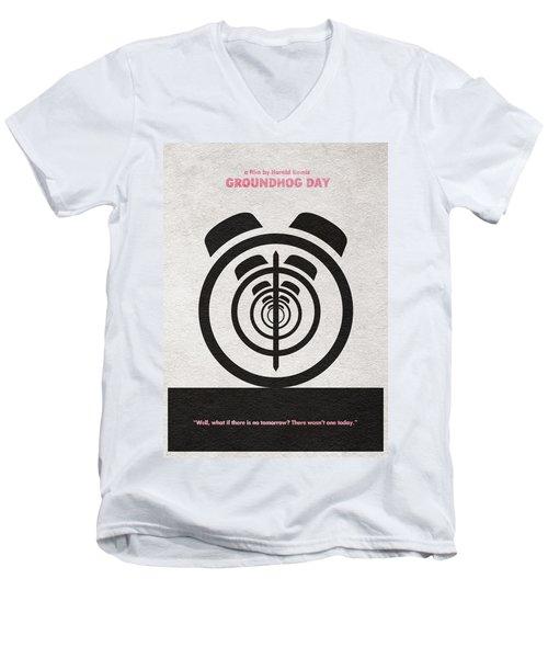 Groundhog Day Men's V-Neck T-Shirt by Ayse Deniz