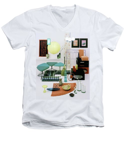 Group Of Furniture And Decorations In 1960 Colors Men's V-Neck T-Shirt