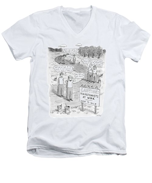 Groups Of Construction Workers Paralyzed Men's V-Neck T-Shirt