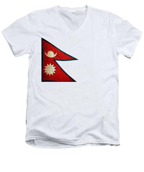 Grunge Nepal Flag Men's V-Neck T-Shirt