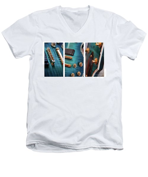 Men's V-Neck T-Shirt featuring the photograph Guitar Life by Joy Watson