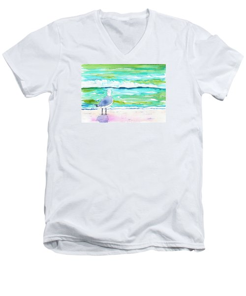 Gull Men's V-Neck T-Shirt by Anne Marie Brown