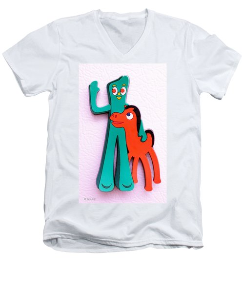 Gumby And Pokey B F F Men's V-Neck T-Shirt by Rob Hans