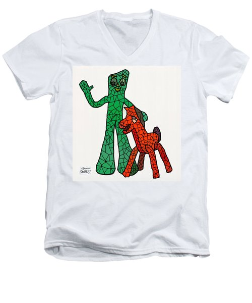 Gumby And Pokey Not For Sale Men's V-Neck T-Shirt by Bruce Nutting
