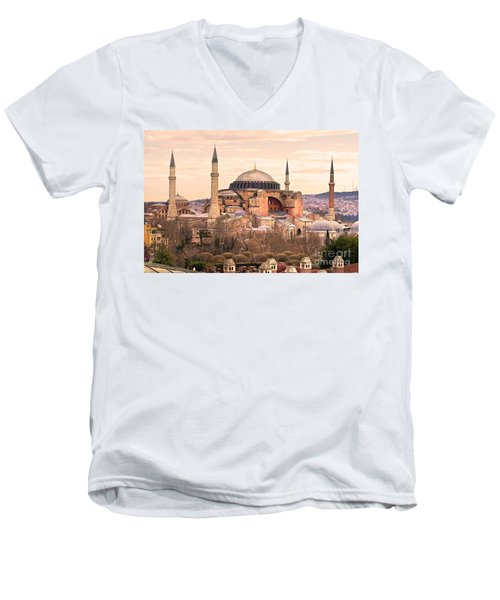 Hagia Sophia Mosque - Istanbul Men's V-Neck T-Shirt by Luciano Mortula
