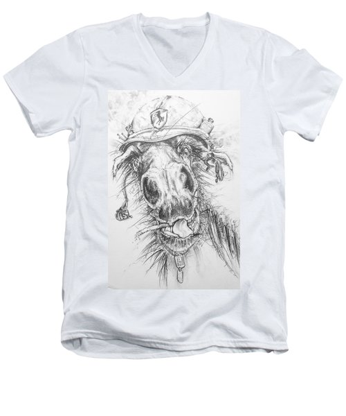 Hair-ied Horse Soilder Men's V-Neck T-Shirt