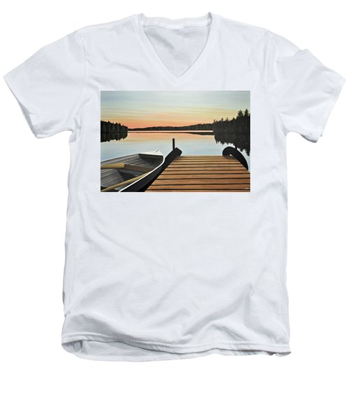 Men's V-Neck T-Shirt featuring the painting Haliburton Dock by Kenneth M  Kirsch