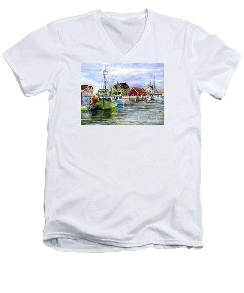 Men's V-Neck T-Shirt featuring the painting Peggys Cove Nova Scotia Watercolor by Carol Wisniewski