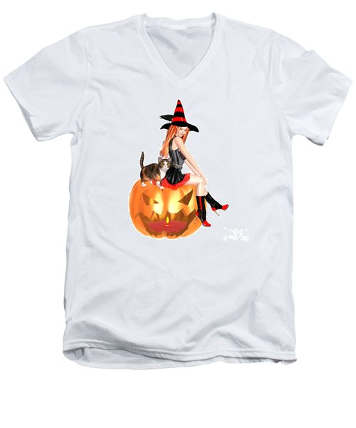 Halloween Witch Nicki With Kitten Men's V-Neck T-Shirt by Renate Janssen