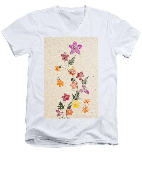 Men's V-Neck T-Shirt featuring the photograph handmade paper from Madagascar 3 by Rudi Prott