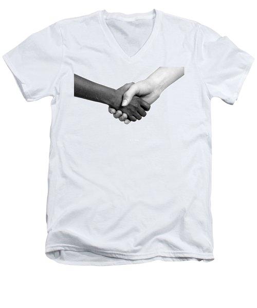 Handshake Black And White Men's V-Neck T-Shirt