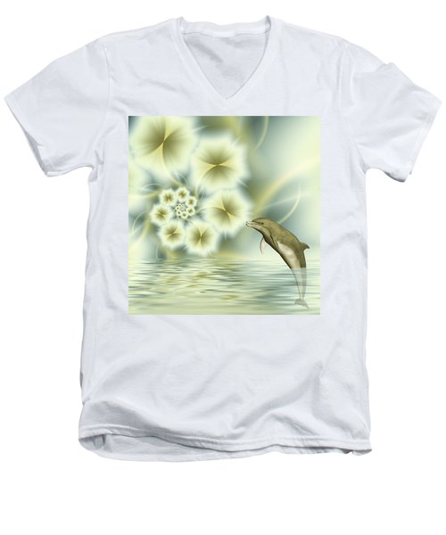 Happy Dolphin In A Surreal World Men's V-Neck T-Shirt by Gabiw Art