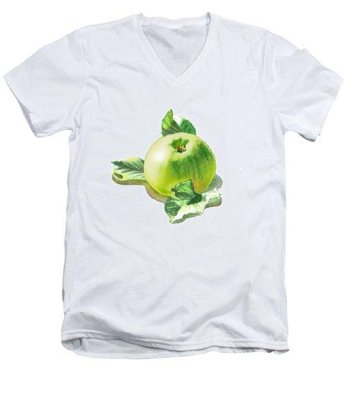 Men's V-Neck T-Shirt featuring the painting Happy Green Apple by Irina Sztukowski