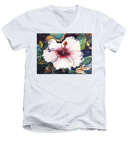 Men's V-Neck T-Shirt featuring the painting Happy Hawaiian Hibiscus by Marionette Taboniar