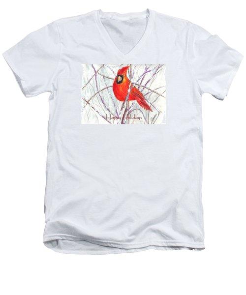 Happy Holidays Snow Cardinal Men's V-Neck T-Shirt by Carol Wisniewski
