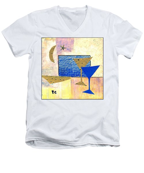 Happy Hour Men's V-Neck T-Shirt by Patricia Cleasby