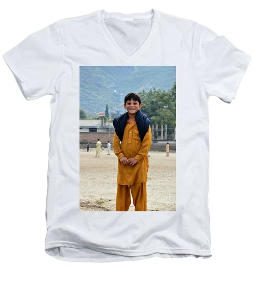 Men's V-Neck T-Shirt featuring the photograph Happy Laughing Pathan Boy In Swat Valley Pakistan by Imran Ahmed