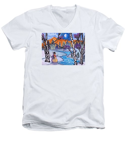 Men's V-Neck T-Shirt featuring the painting Happy Snowman by Connie Valasco