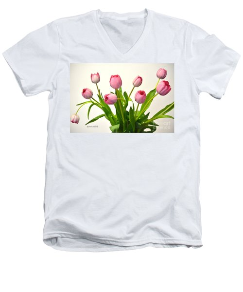 Men's V-Neck T-Shirt featuring the digital art Happy Spring Pink Tulips 2 by Jeannie Rhode