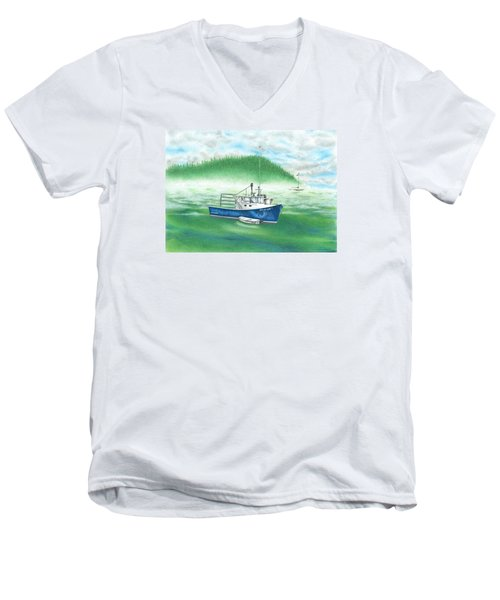 Harbor Men's V-Neck T-Shirt by Troy Levesque