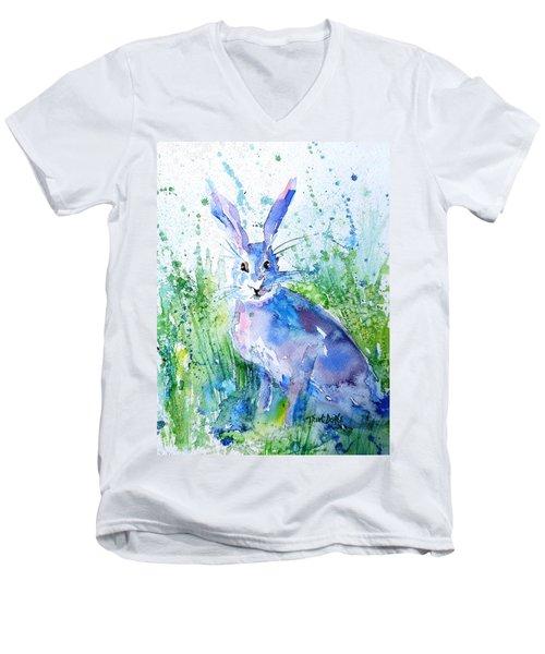 Hare Stare Men's V-Neck T-Shirt by Trudi Doyle