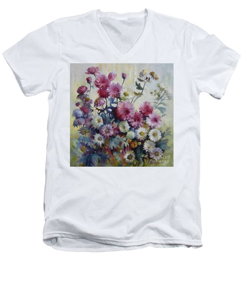 Men's V-Neck T-Shirt featuring the painting Harmonies Of Autumn by Elena Oleniuc