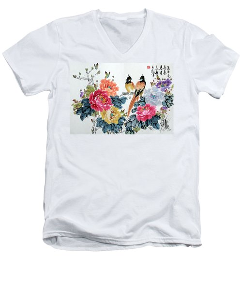 Men's V-Neck T-Shirt featuring the painting Harmony And Lasting Spring by Yufeng Wang