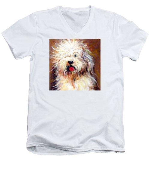 Harvey The Sheepdog Men's V-Neck T-Shirt by Rebecca Korpita