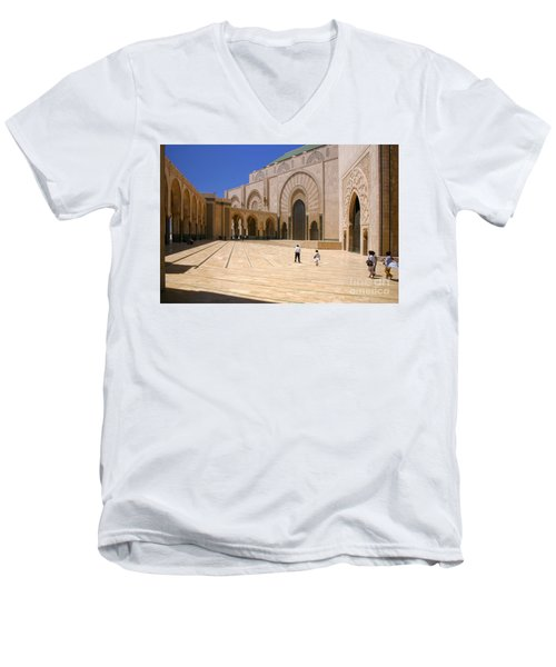 Men's V-Neck T-Shirt featuring the photograph Hassan II Mosque Grand Mosque Sour Jdid Casablanca Morocco by Ralph A  Ledergerber-Photography