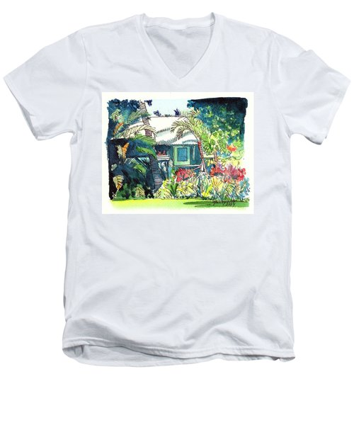 Men's V-Neck T-Shirt featuring the painting Hawaiian Cottage 3 by Marionette Taboniar