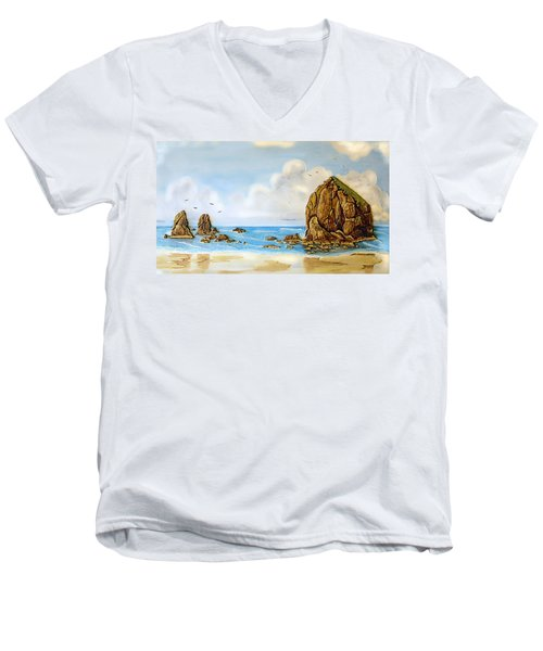 Haystack Relief Men's V-Neck T-Shirt by Wendy McKennon