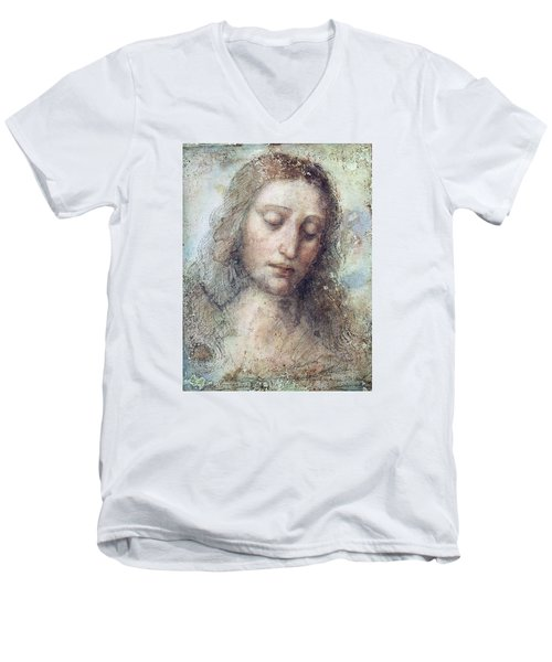 Men's V-Neck T-Shirt featuring the drawing Head Of Christ Restoration Art Work by Karon Melillo DeVega