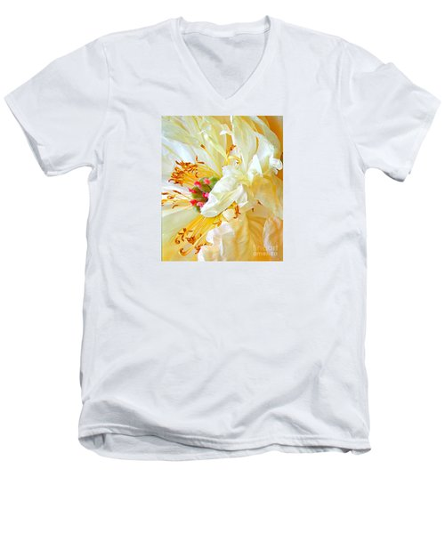 Men's V-Neck T-Shirt featuring the photograph Heart Of Peony by Nareeta Martin