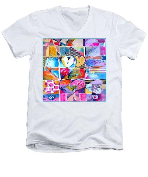 Heart Throbs Men's V-Neck T-Shirt by Mindy Newman
