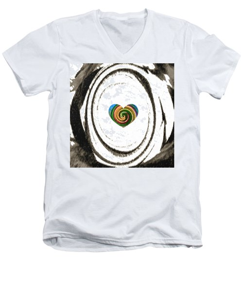 Men's V-Neck T-Shirt featuring the digital art Heart Within by Catherine Lott