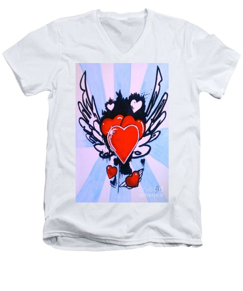 Men's V-Neck T-Shirt featuring the painting Hearts by Marisela Mungia