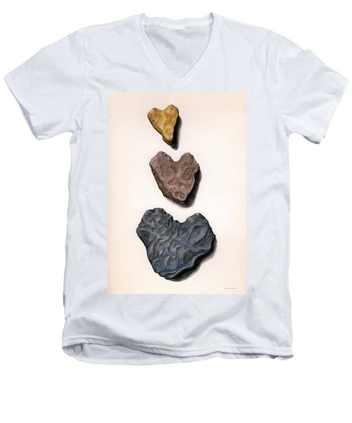 Men's V-Neck T-Shirt featuring the painting Hearts Rock by Janice Dunbar