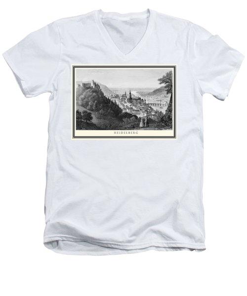 Heidelberg Etching Men's V-Neck T-Shirt by Rudi Prott