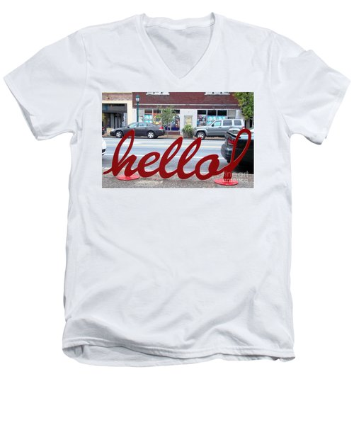 Men's V-Neck T-Shirt featuring the photograph Hello by Kelly Awad