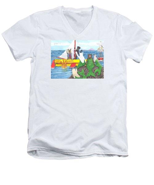 Hello Mer Kitties Men's V-Neck T-Shirt